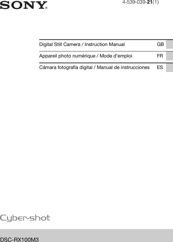 16e9c6ba99 Sony Cyber Shot Dsc Rx100 M3 Instruction Manual RX100M3