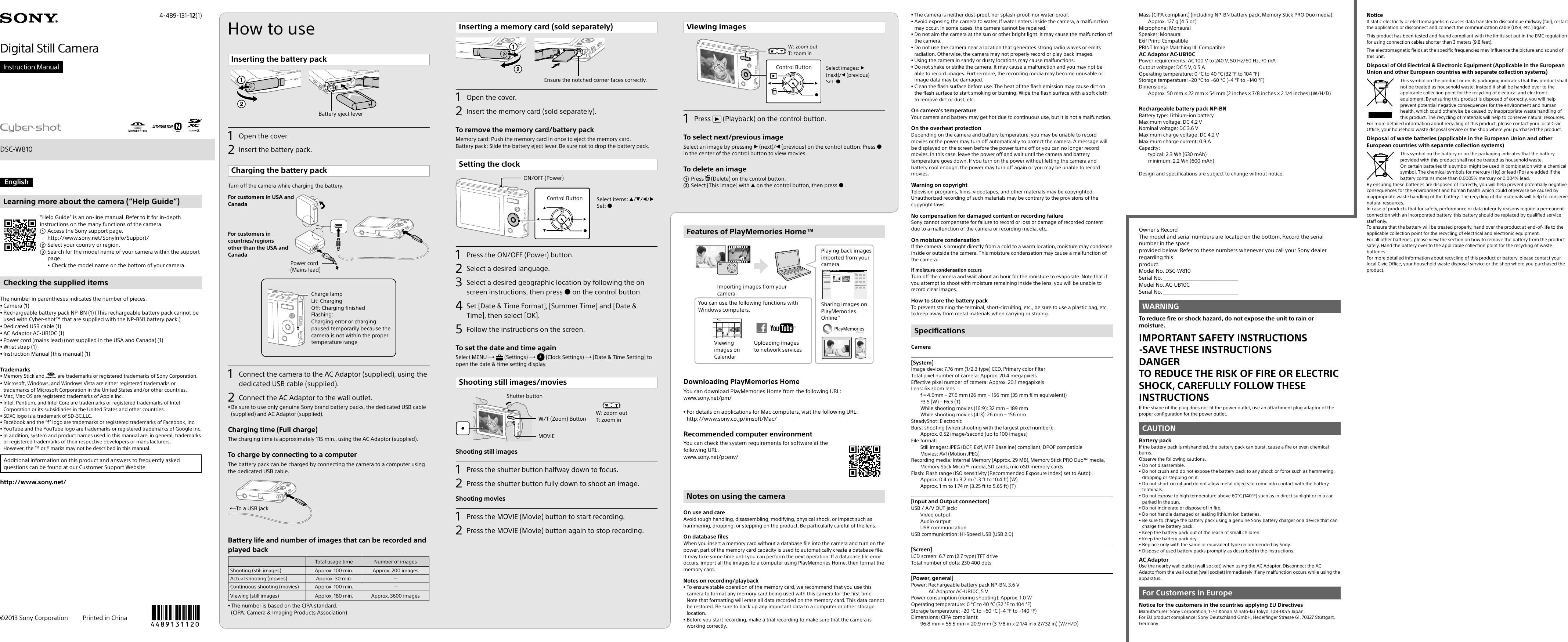 Download sony cyber-shot dsc-wx9 pdf user manual guide.