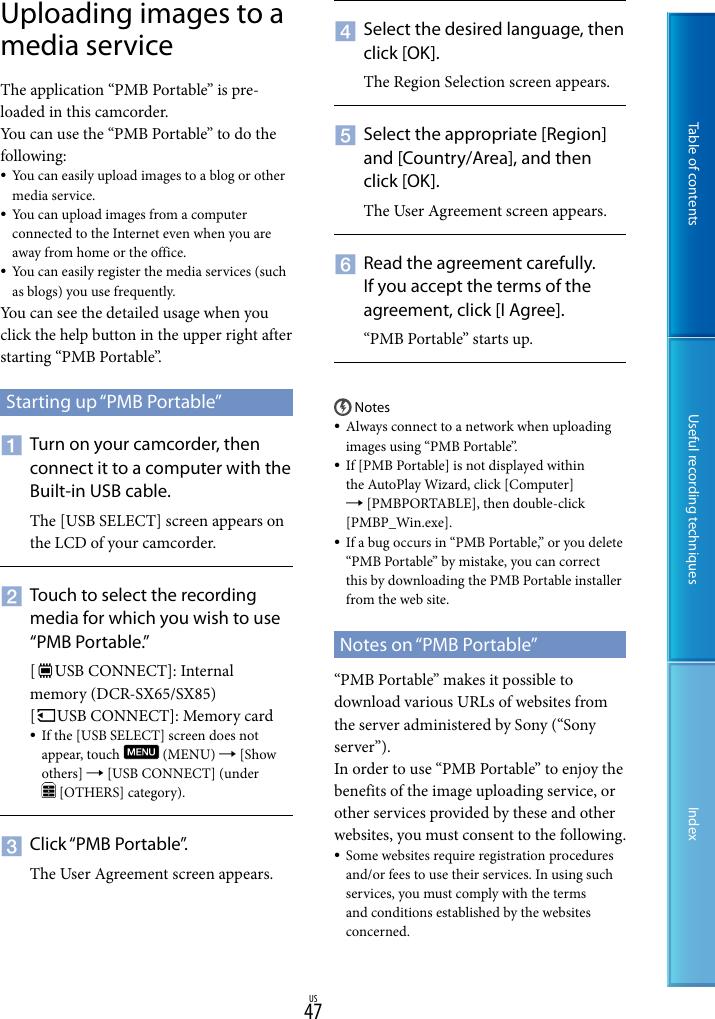 Sony Dcr Sx85 S Handbook SX45/SX65/SX85