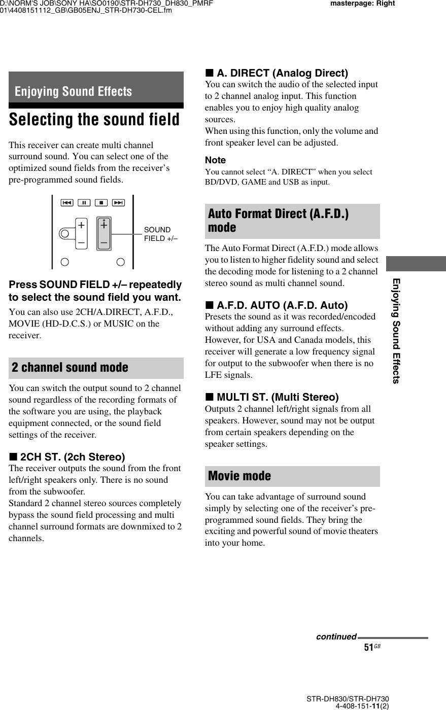 Sony Dh730 Users Manual STR DH830/STR