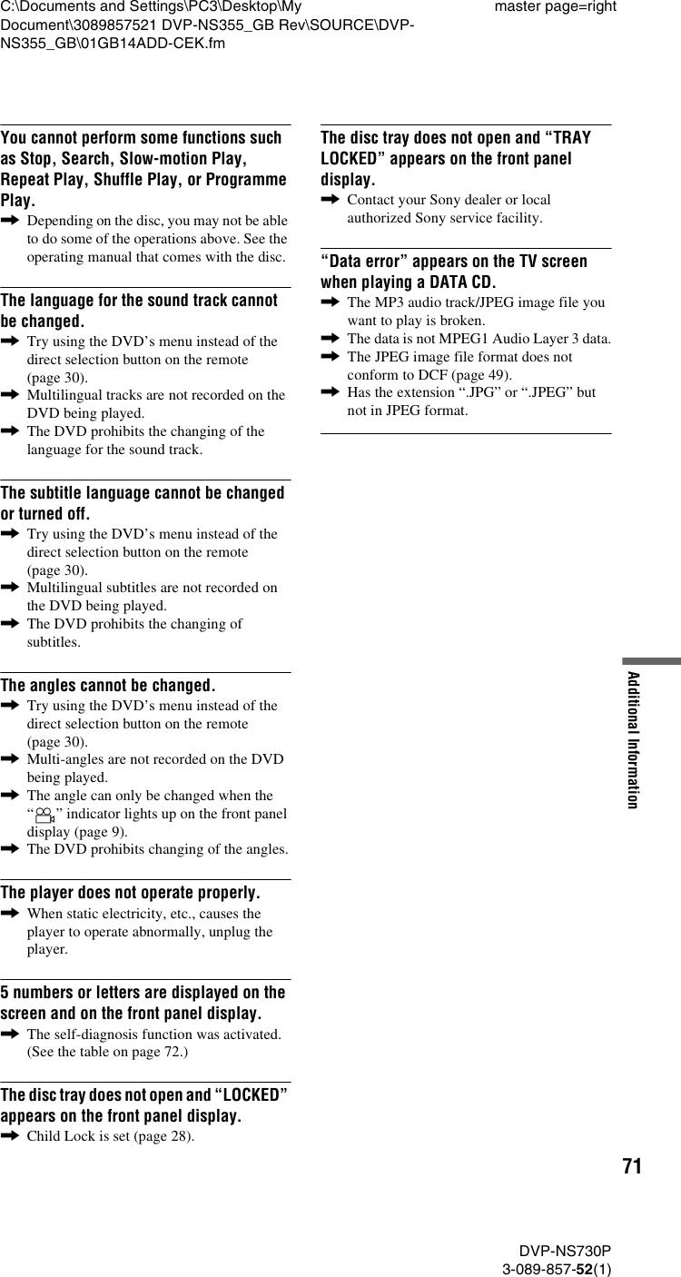 Sony Dvp Ns355 Users Manual