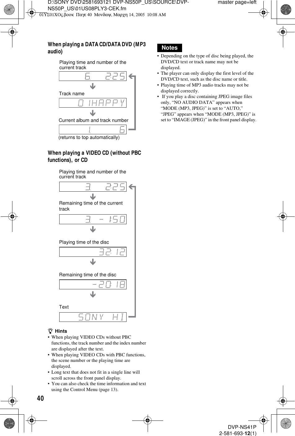 Sony Dvp Ns50P Users Manual