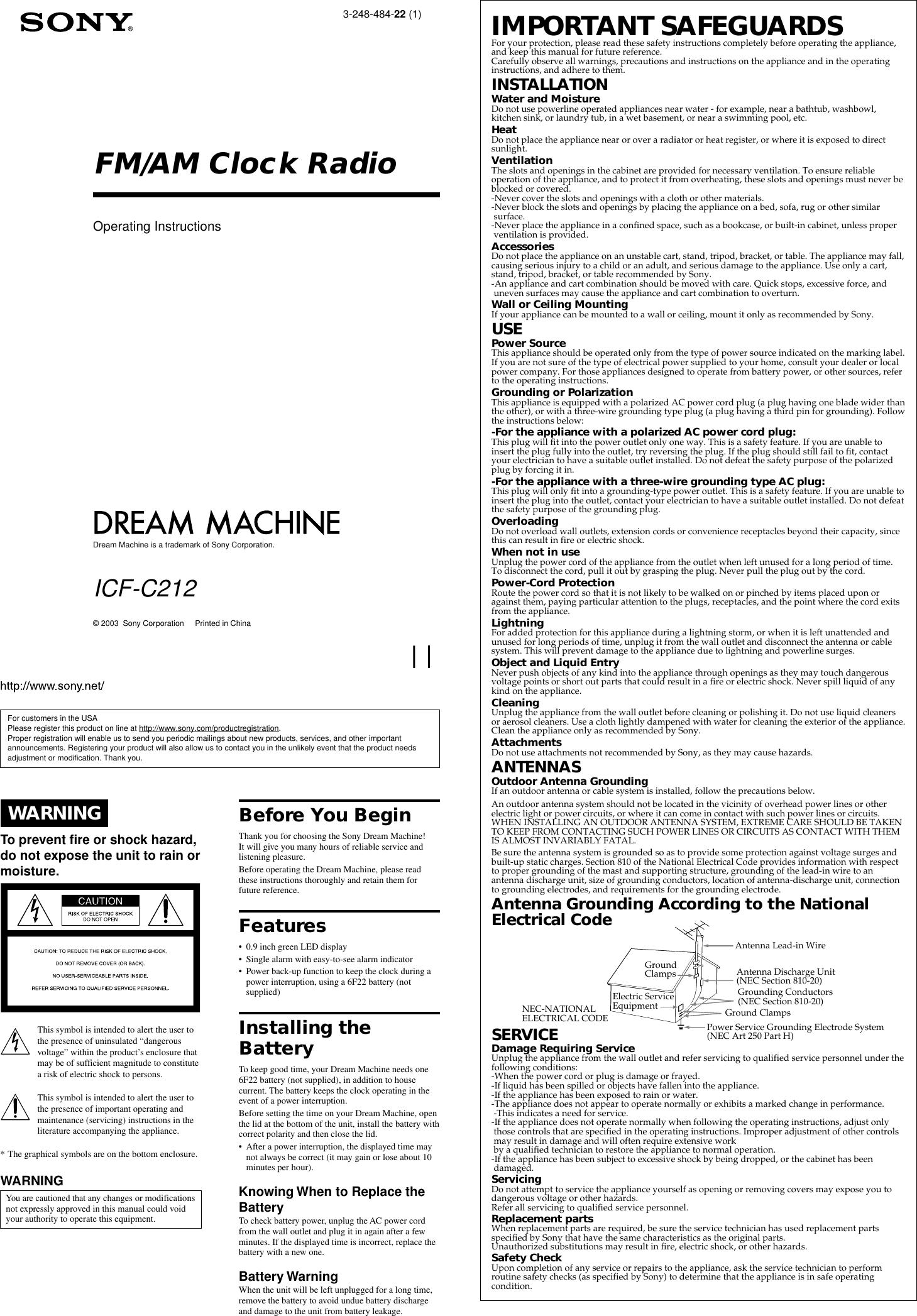 Sony Icf C212 Operating Instructions