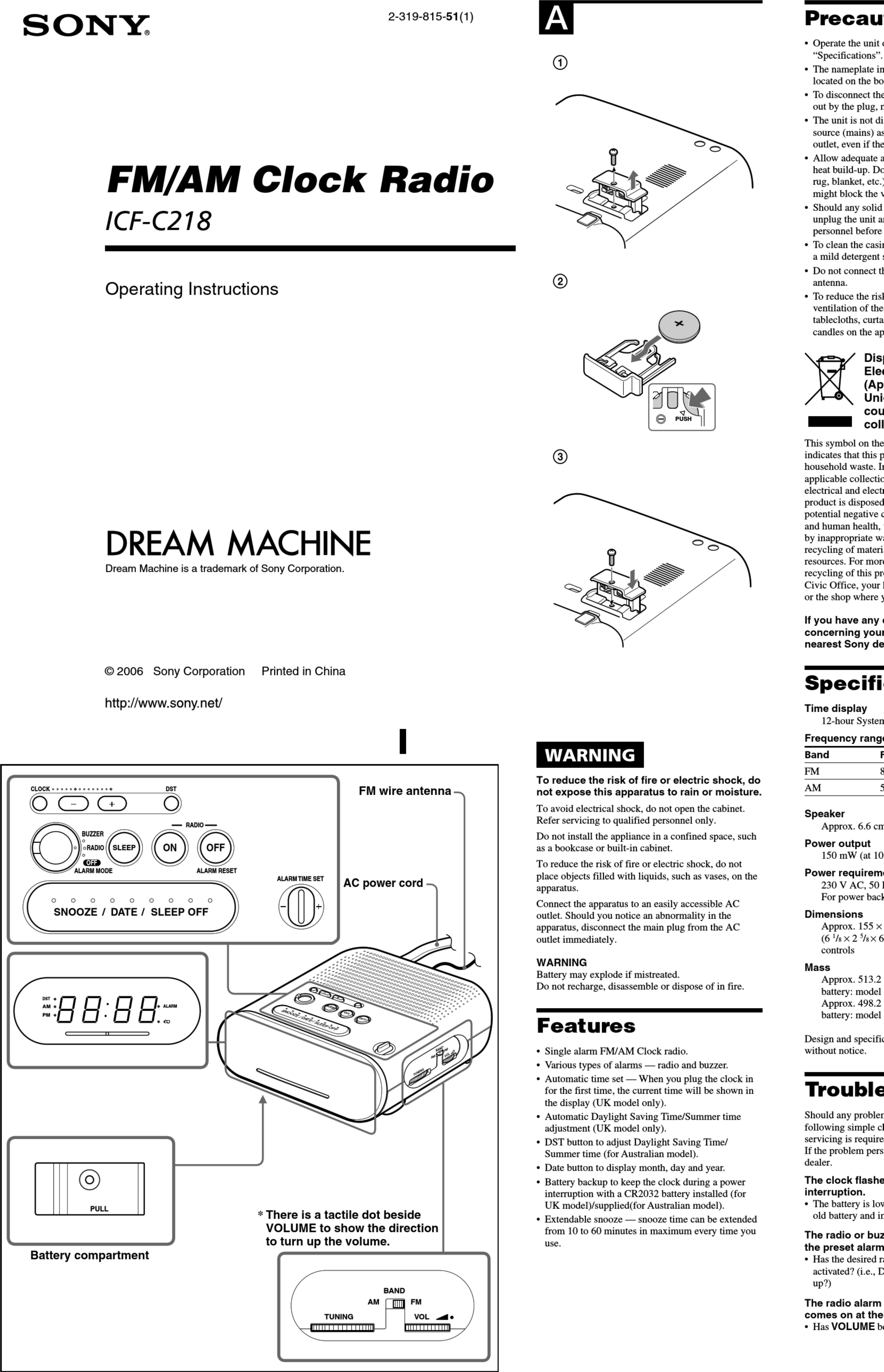 Sony Icf C218 Instruction And Operation Manual 1002680 User