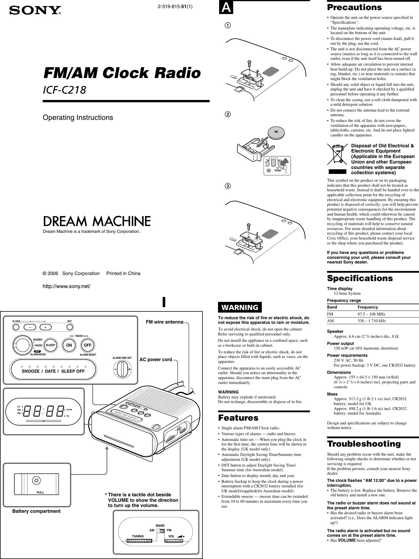 Sony Icf C218 Instruction Manual