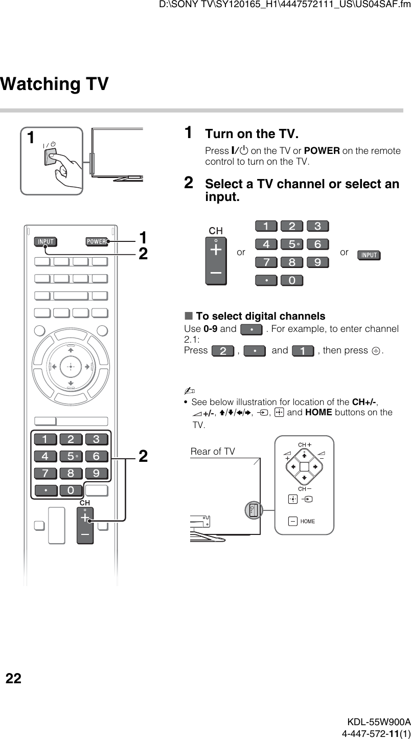 Sony Kdl 55W900A Users Manual