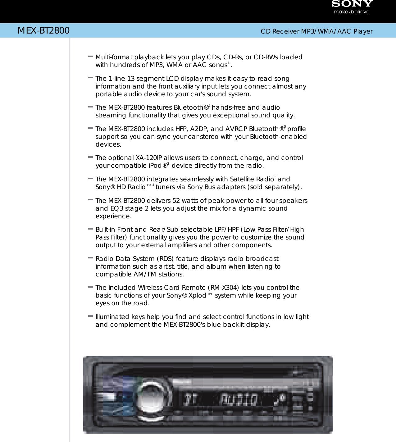 Sony Mex Bt2800 Users Manual