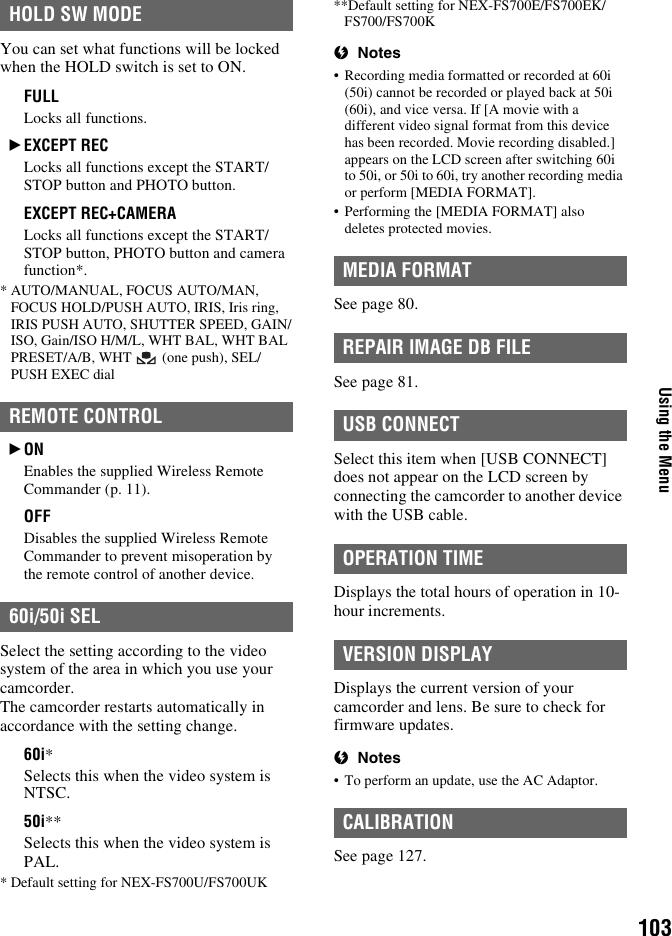 Sony Nex Fs700 Operating Guide FS700U/FS700UK/FS700E/FS700EK/FS700