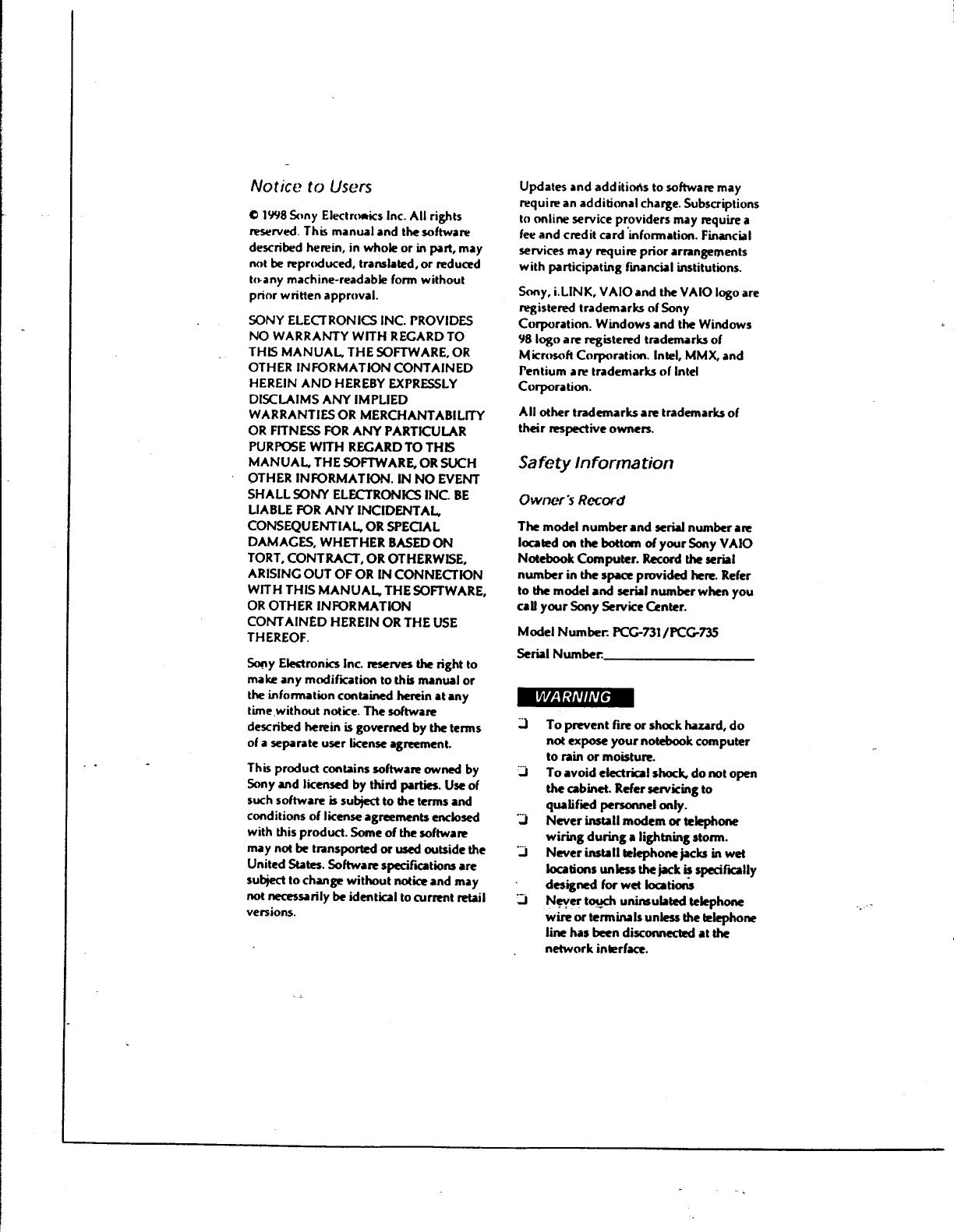 Sony Pcg 731 Users Guide
