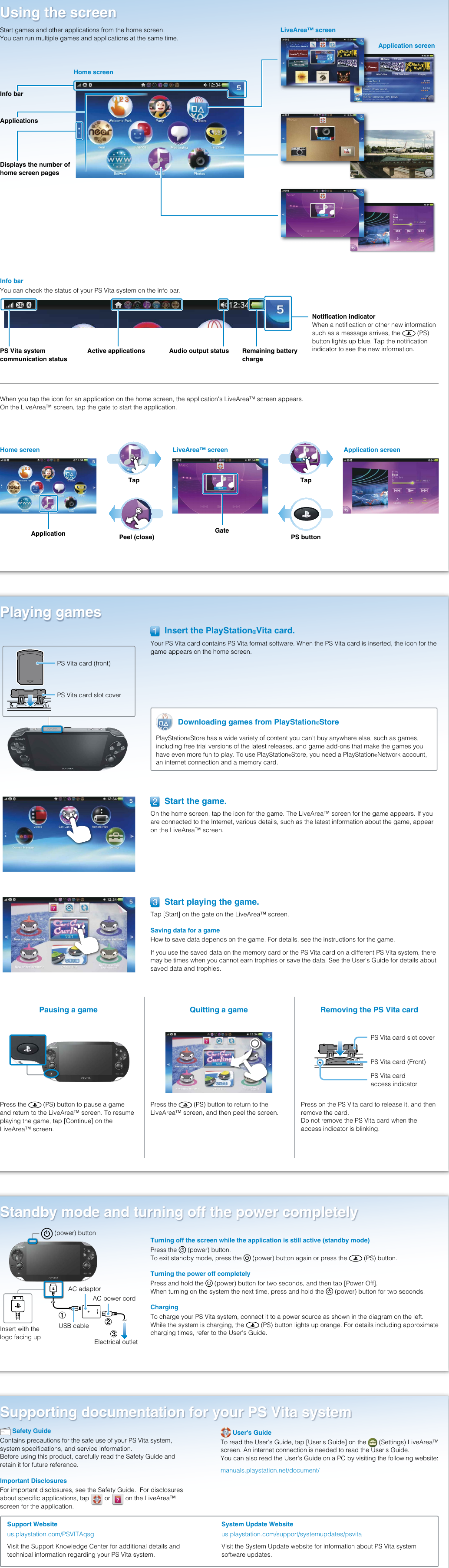 Sony Playstation Vita Pch 1001 Quick Start Manual / 1101