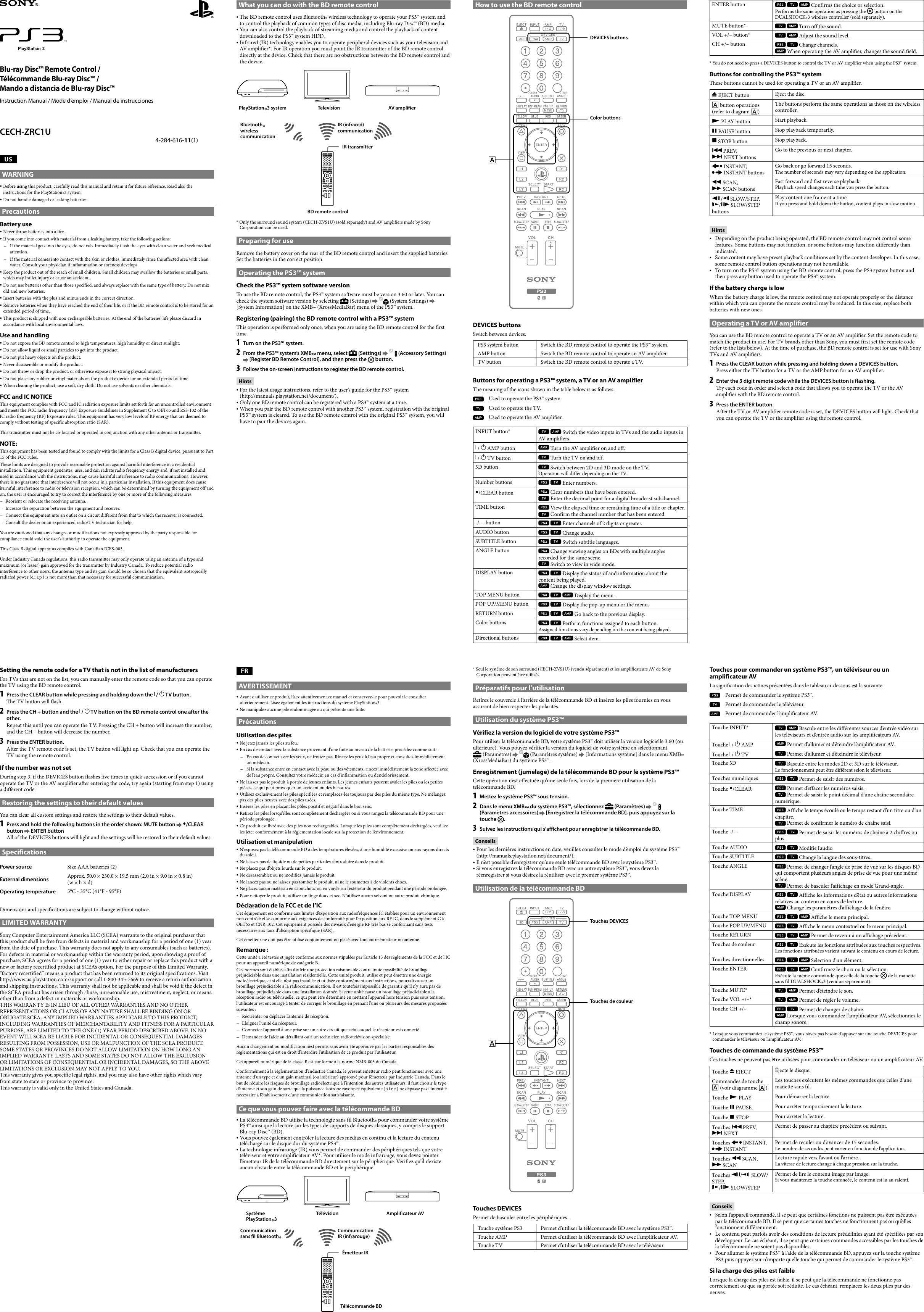 ... Array - sony ps3 blu ray disc remote control cech zrc1u instruction  manual rh usermanual wiki ...