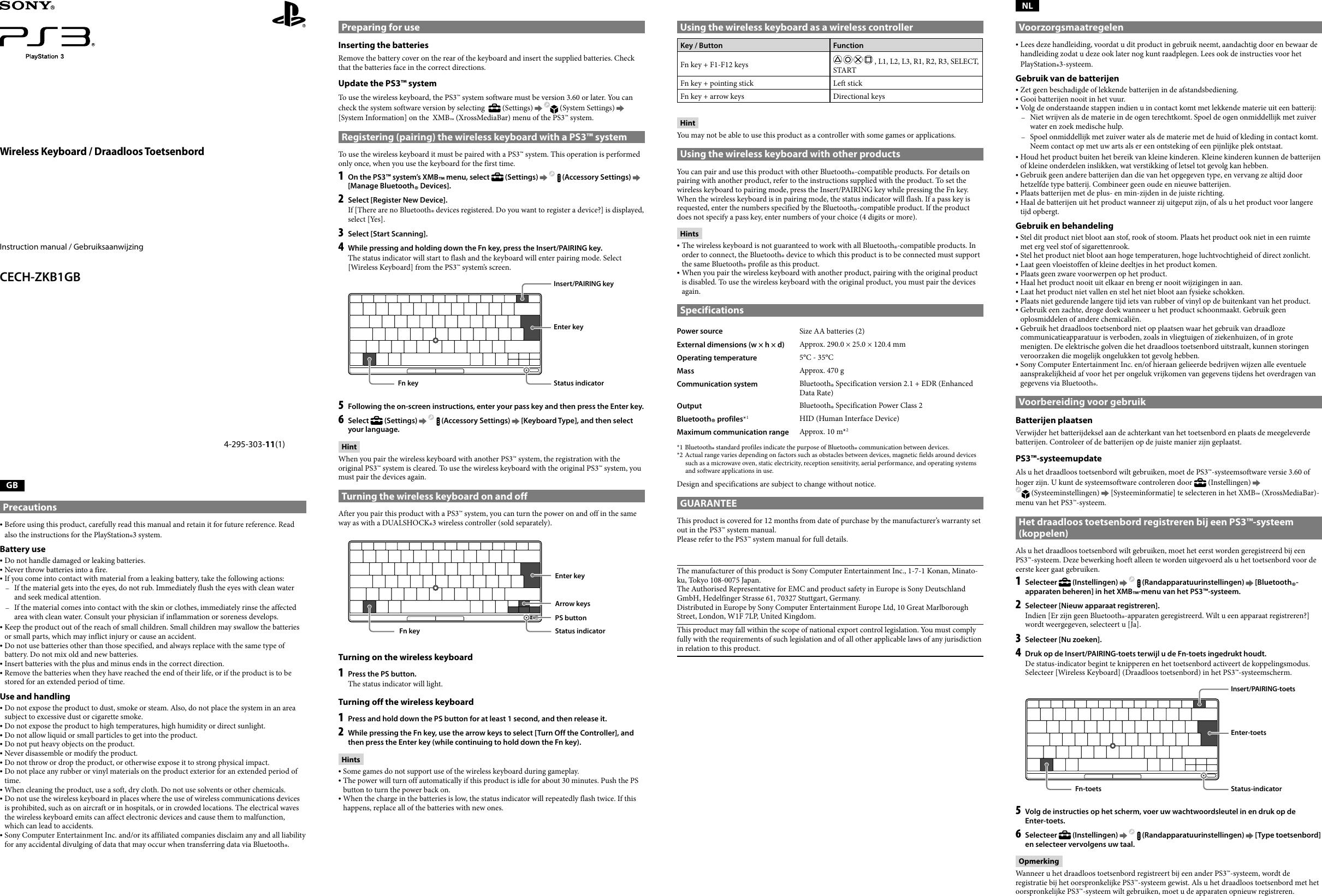Sony Manual Ps3 Diagram Of Honda Generator Parts Ex800 A Jpn Vin G100 Array Wireless Keyboard Cech Zkb1gb Operating Instructions Rh Usermanual Wiki
