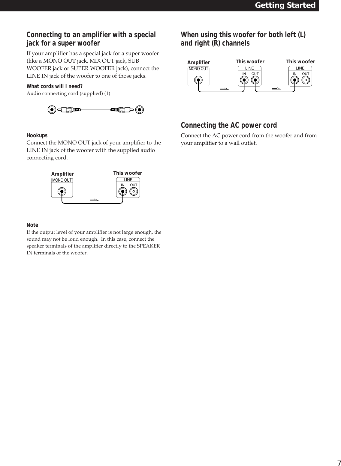 Sony Sa W303 Users Manual W305 Speaker Jack Wiring Connection Page 7 Of 12