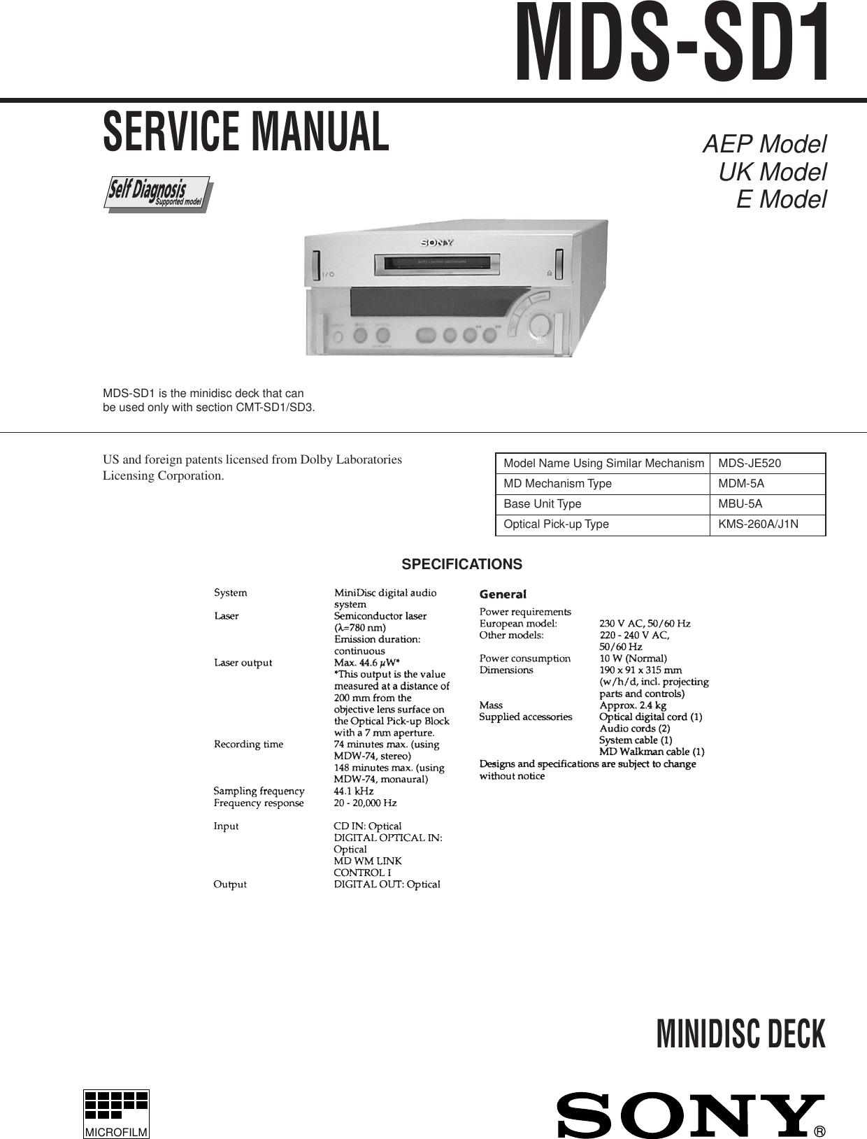 Sony Minidisc Deck Mds Sd1 Users Manual