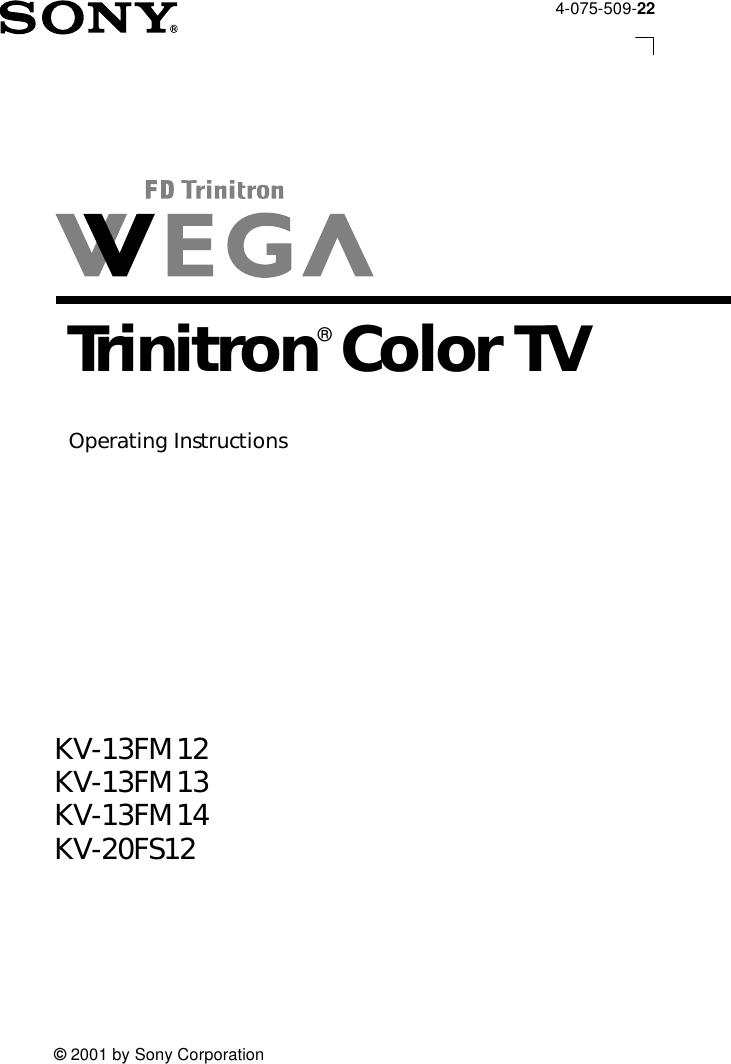 Sony Trinitron Kv 13Fm 12 Users Manual 20FS12
