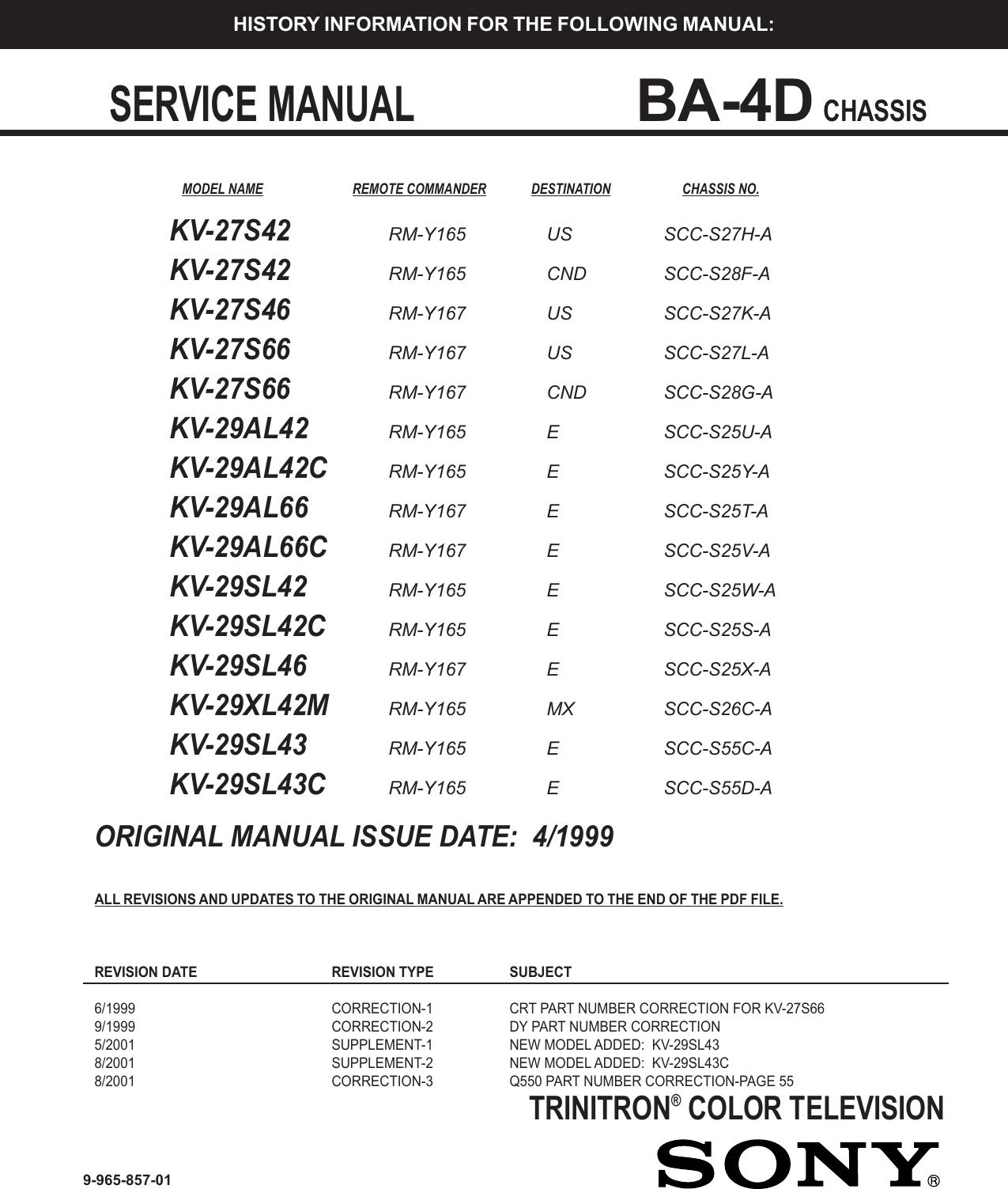 Sony Trinitron Kv 27s42 Users Manual 857 Coverp65 Subwooferampwiringdiagram Updated Neon Wiring Diagram My B9