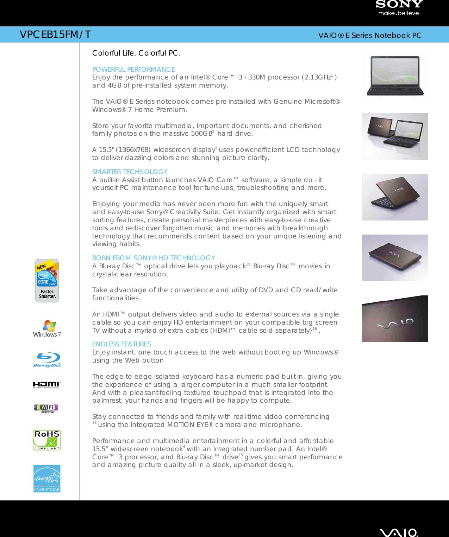 Sony Vpceb15Fm Marketing Specifications