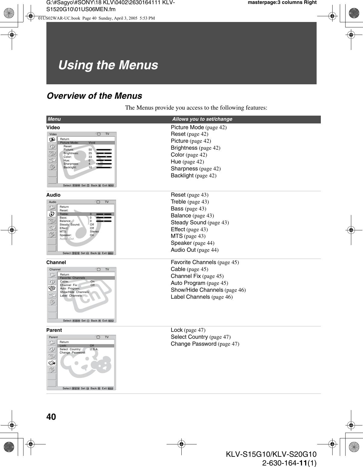 Sony Wega Klv S15G10 Users Manual S15G10/KLV S20G10
