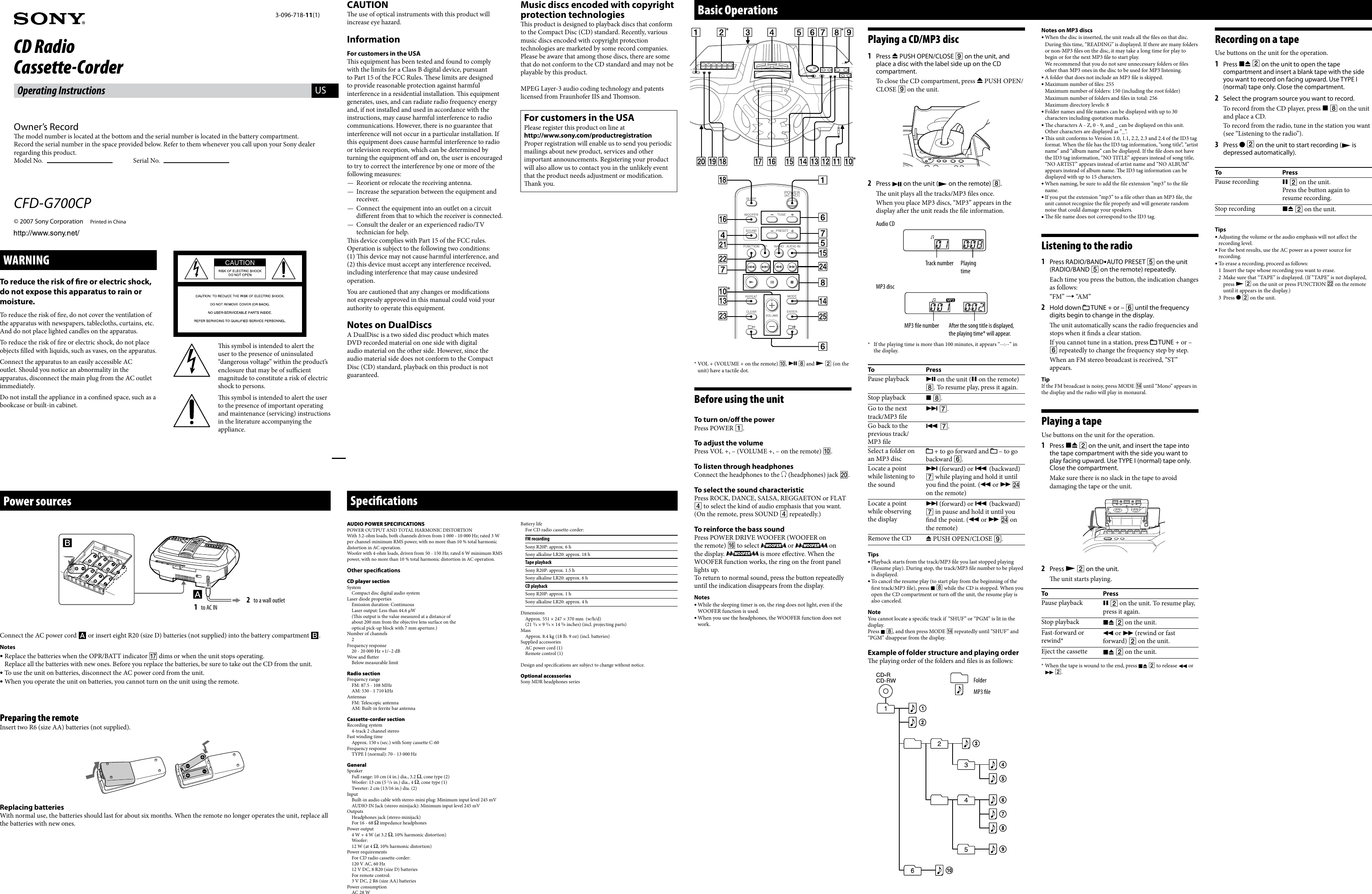 Sony Xplod Cfd G700cp Users Manual