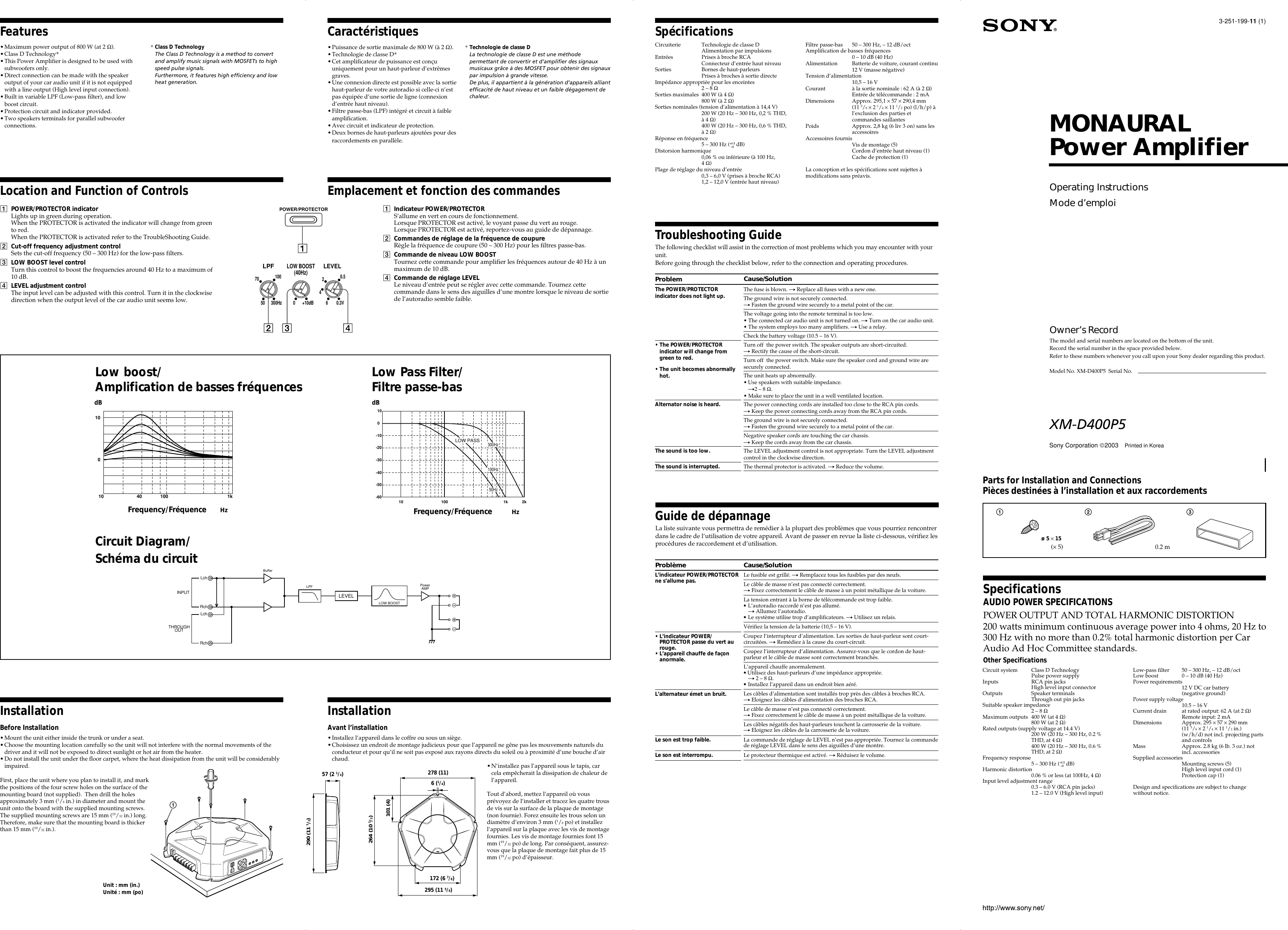 Sony Xplod Xm D400p5 Users Manual