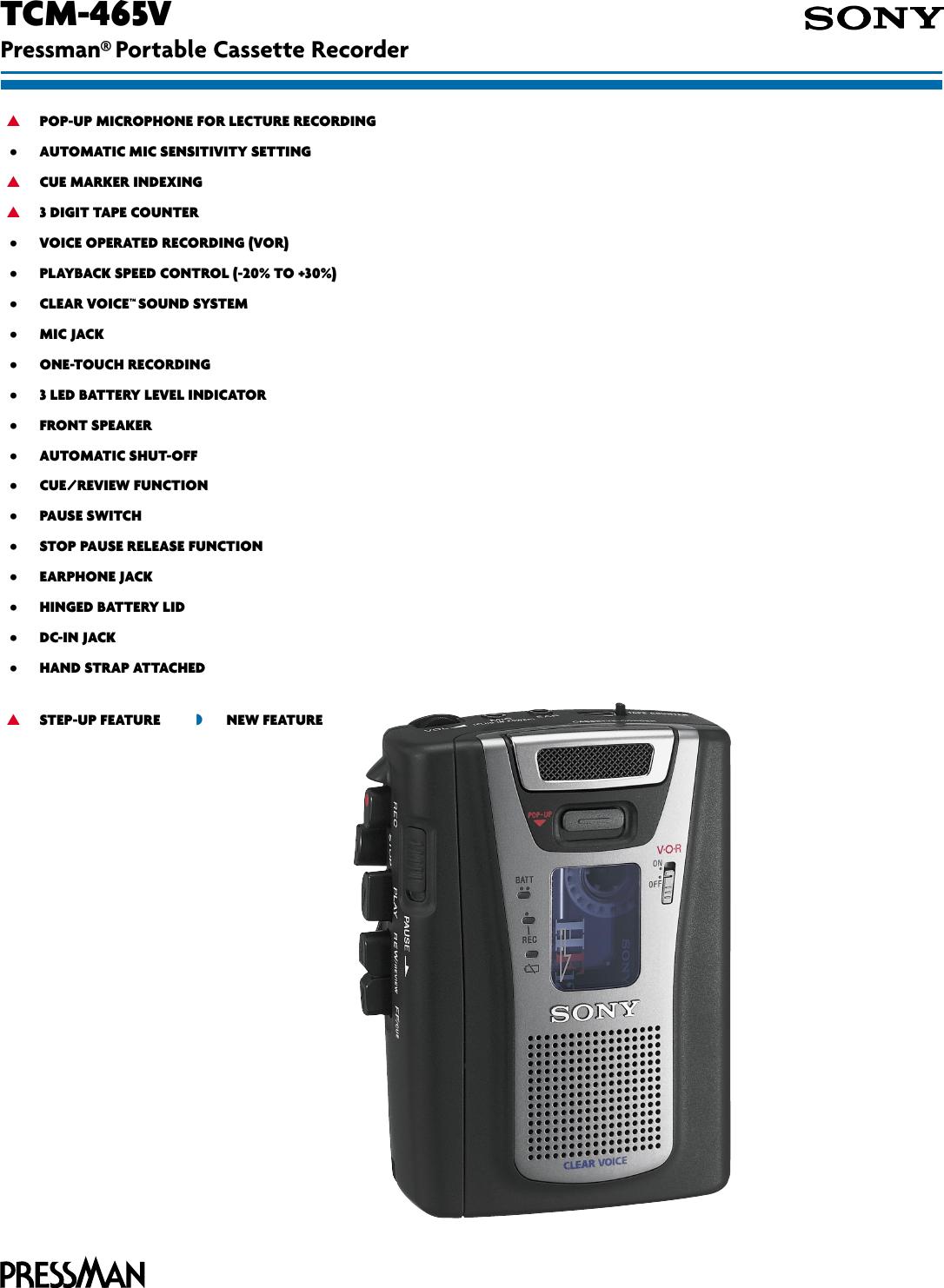 sony tcm 465v son 907 user manual marketing specifications tcm465v sp rh usermanual wiki Sony User Manual Guide Sony Operating Manuals ICD-UX523