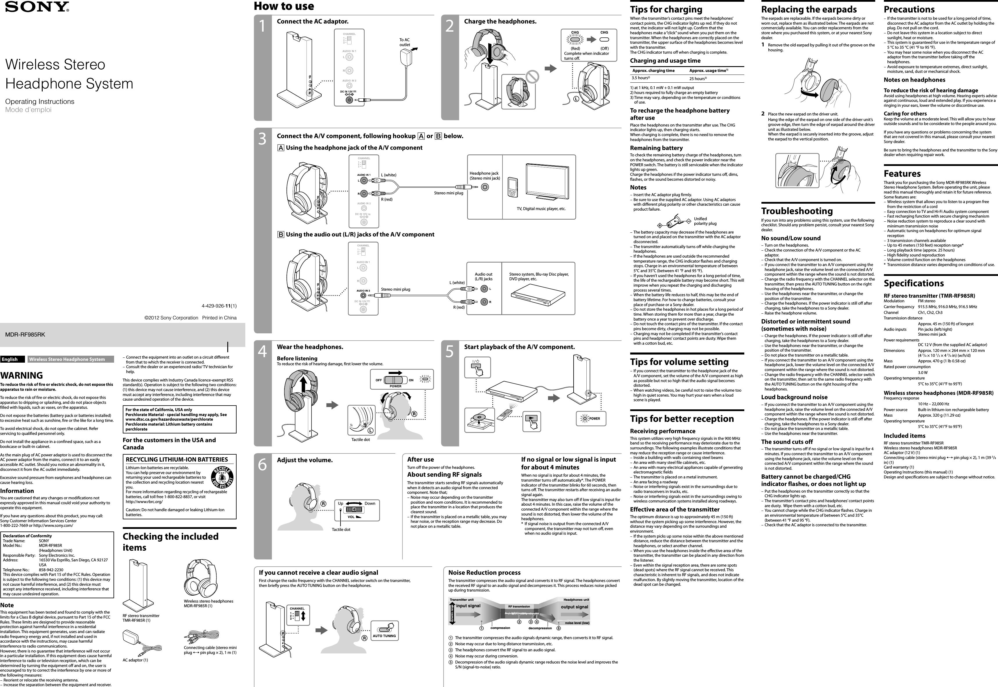 Sony Tmrrf985r Rf Stereo Transmitter User Manual Mdr Rf985rk