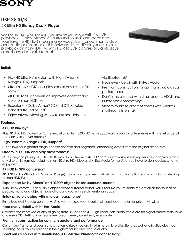 Sony UBP X800 User Manual Marketing Specifications UBPX800B Mksp
