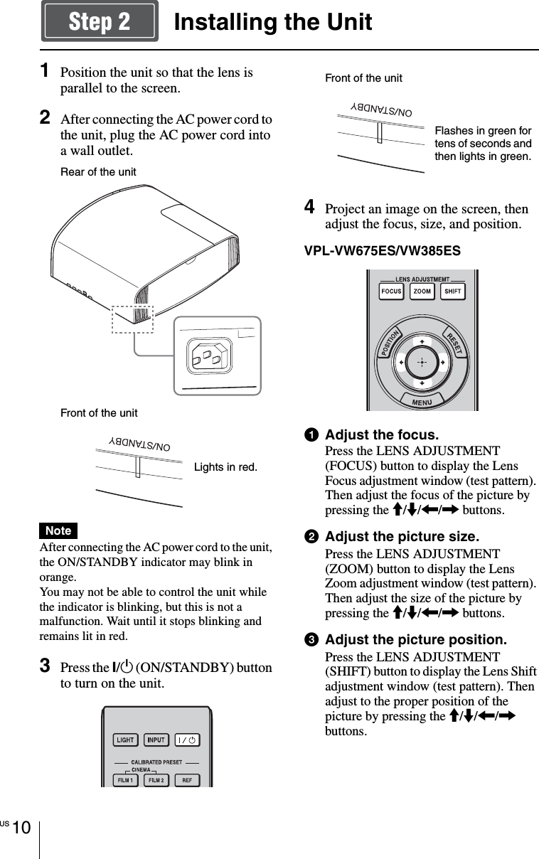 Sony VPL VW285ES VW675ES/VW385ES/VW285ES User Manual Quick