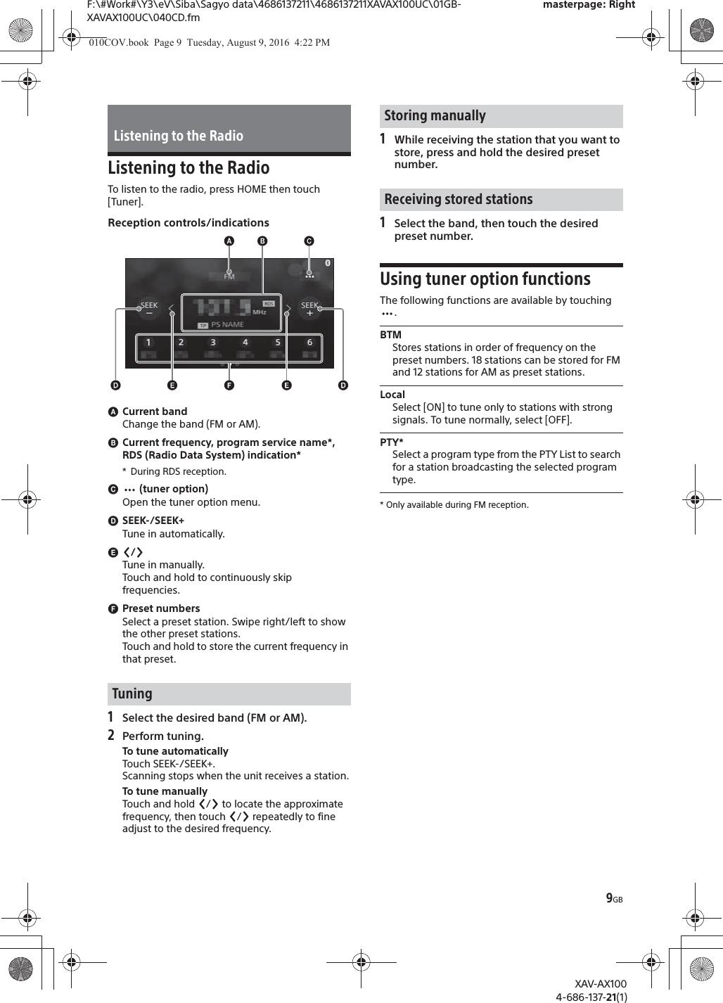 Sony XAVAX100 AV RECEIVER User Manual XAV AX100 on