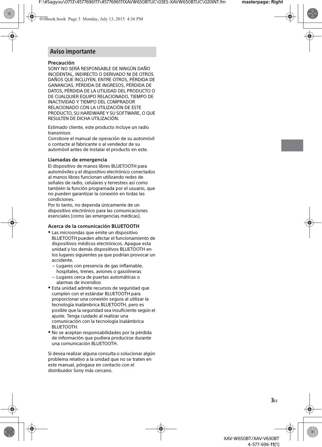 Sony XAVV630BT AV Center User Manual XAV W650BT XAV V630BT