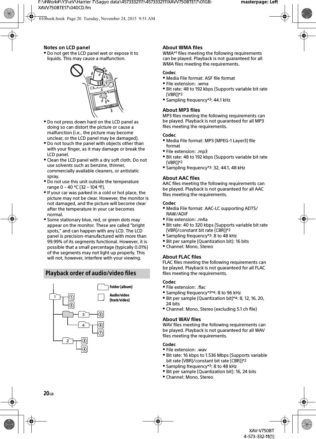 Sony XAVV750BT AV CENTER User Manual XAV V750BT