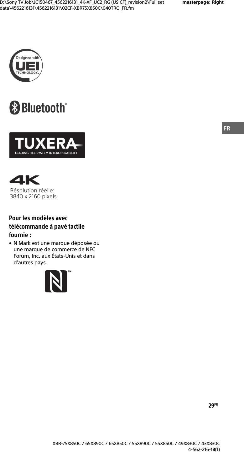 Sony XBR 55X850C User Manual Reference Guide Ref 4562216131 EN FR