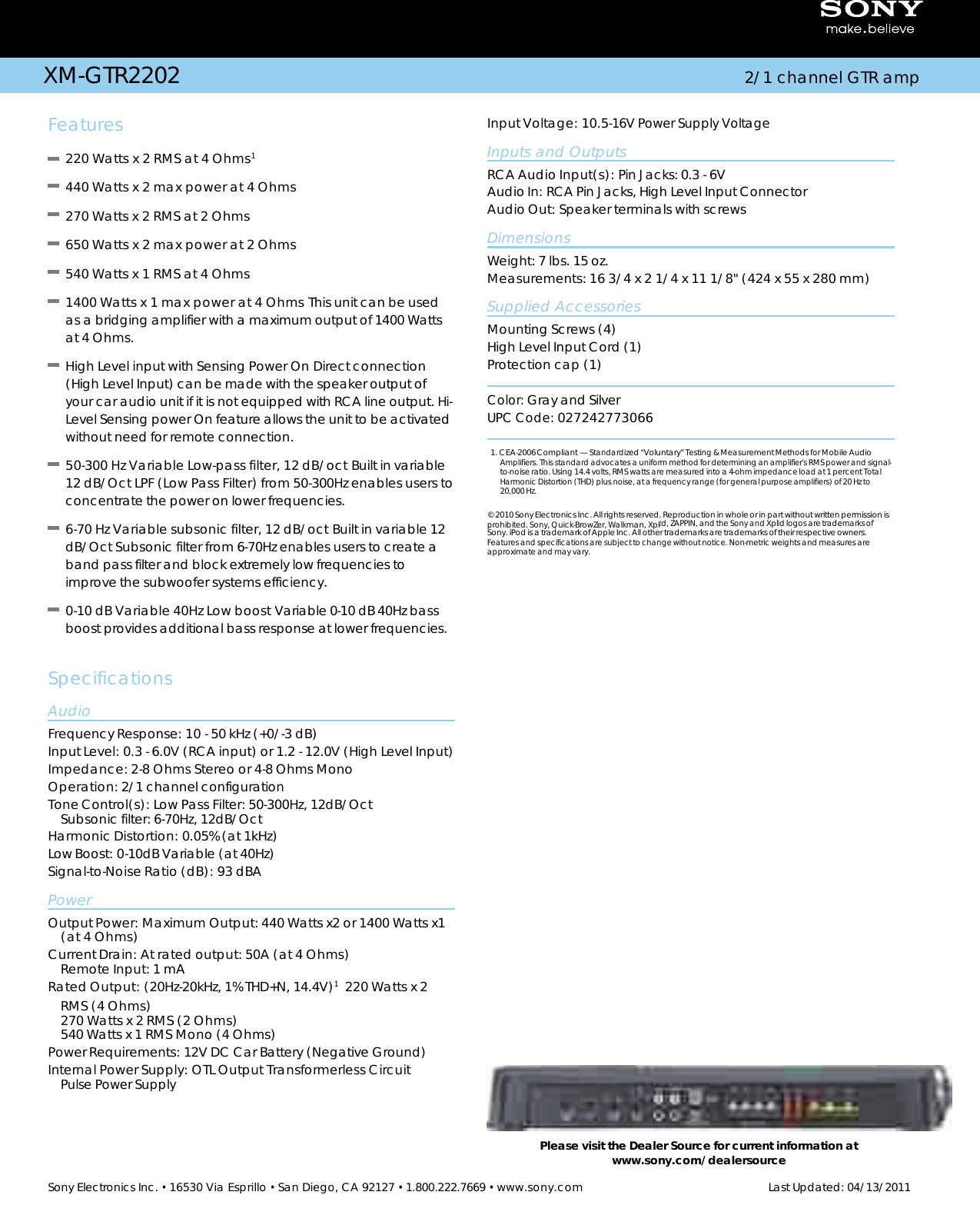 Sony XM GTR2202 User Manual Marketing Specifications