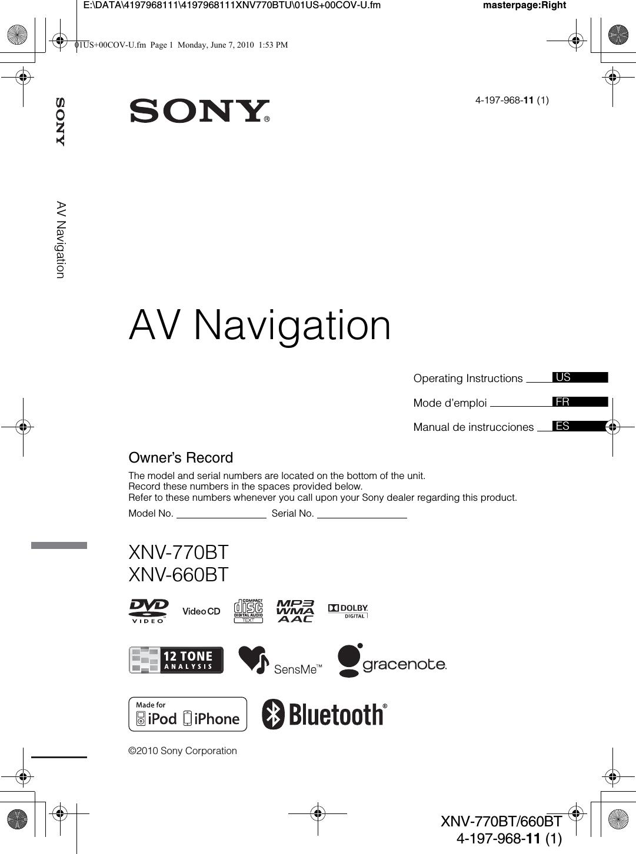Sony Xnv 770bt Wiring Diagram Trusted Diagrams Xav 70bt Xnv770bt Av Navigation User Manual 660bt U Us