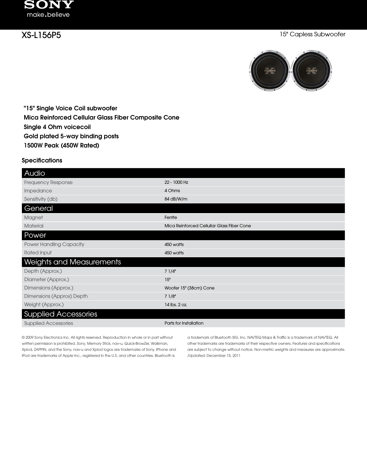 sony xs l156p5 user manual marketing specifications xsl156p5 mksp rh usermanual wiki Navteq GPS Navteq GPS