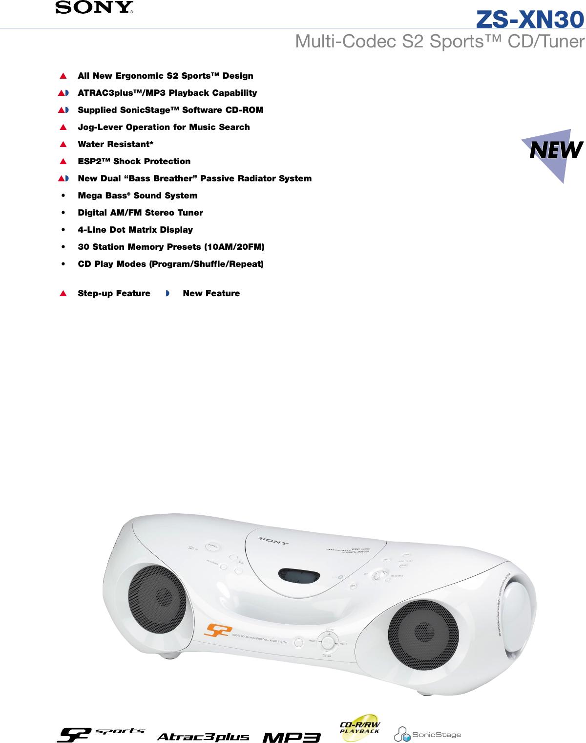 sony zs xn30 son 983 user manual marketing specifications zsxn30 mksp rh usermanual wiki Atrac Tape Atrac Type R