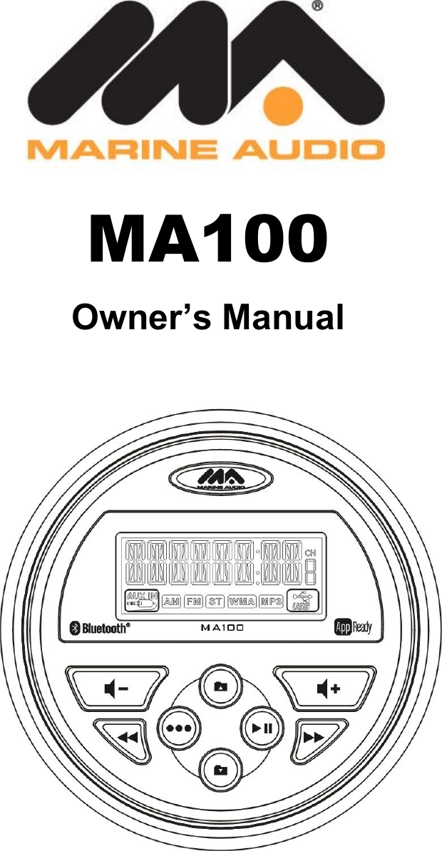 sounding audio ma100 marine audio stereo user manual