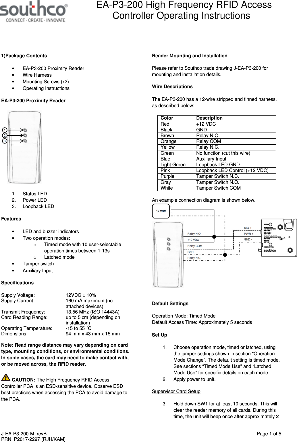 Southco P3200 Electronic Access Solution Mifare Controller User Esd Wiring Diagram Manual J Ea P3 200 M Revbx