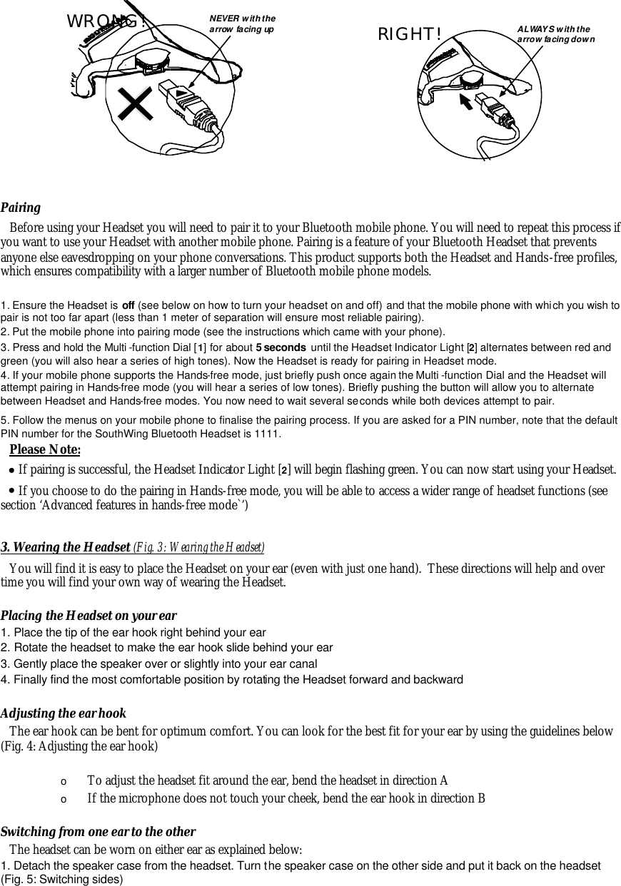 Southwing s l capr bluetooth wireless headset user manual english.
