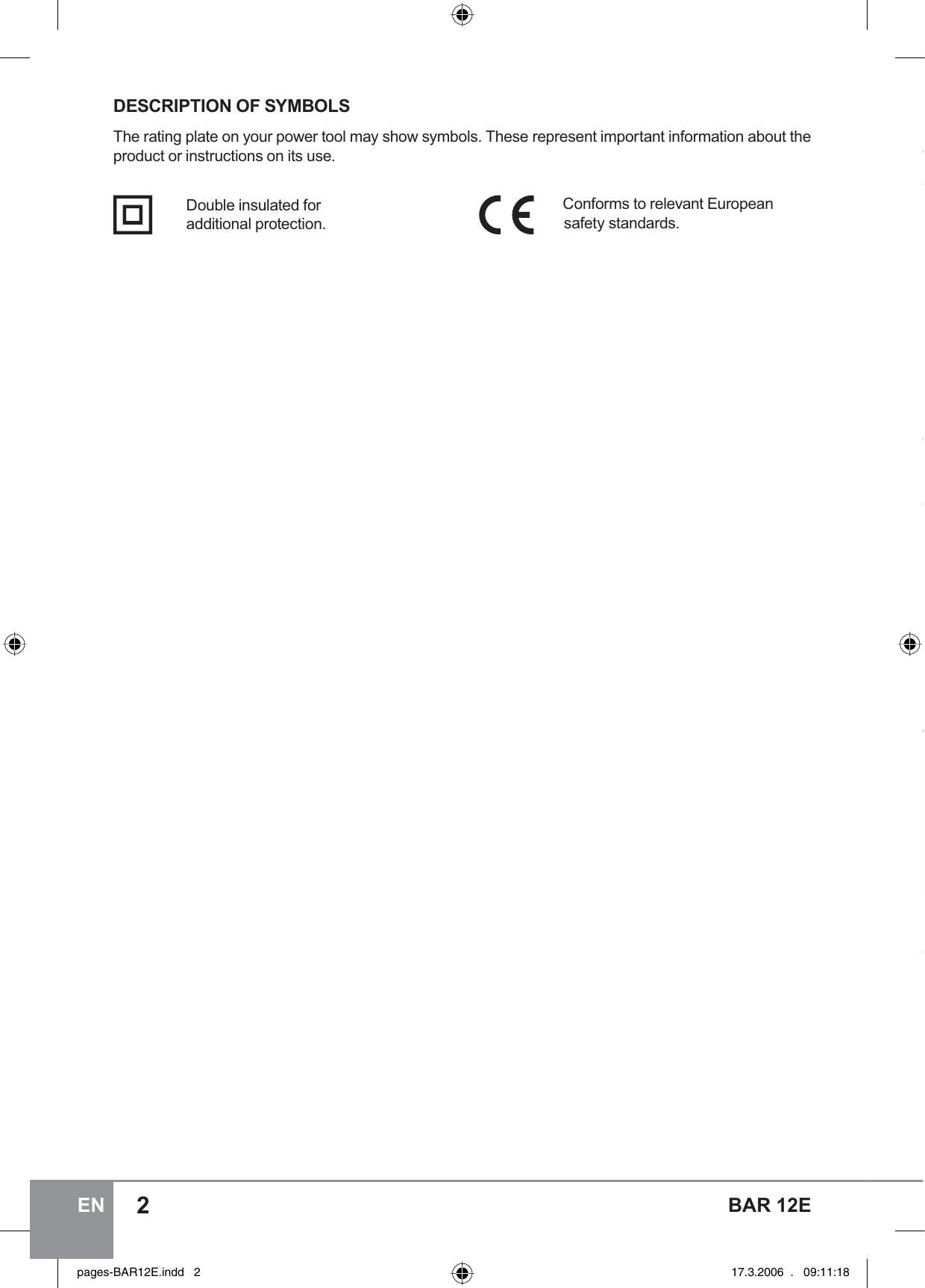 Sparky Group Bar 12E Users Manual BVR 6 Instrunction