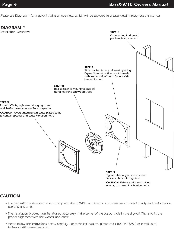 Speakercraft Powered In Wall Subwoofer Bassx W10 Users Manual | Speakercraft Wiring Diagram |  | UserManual.wiki