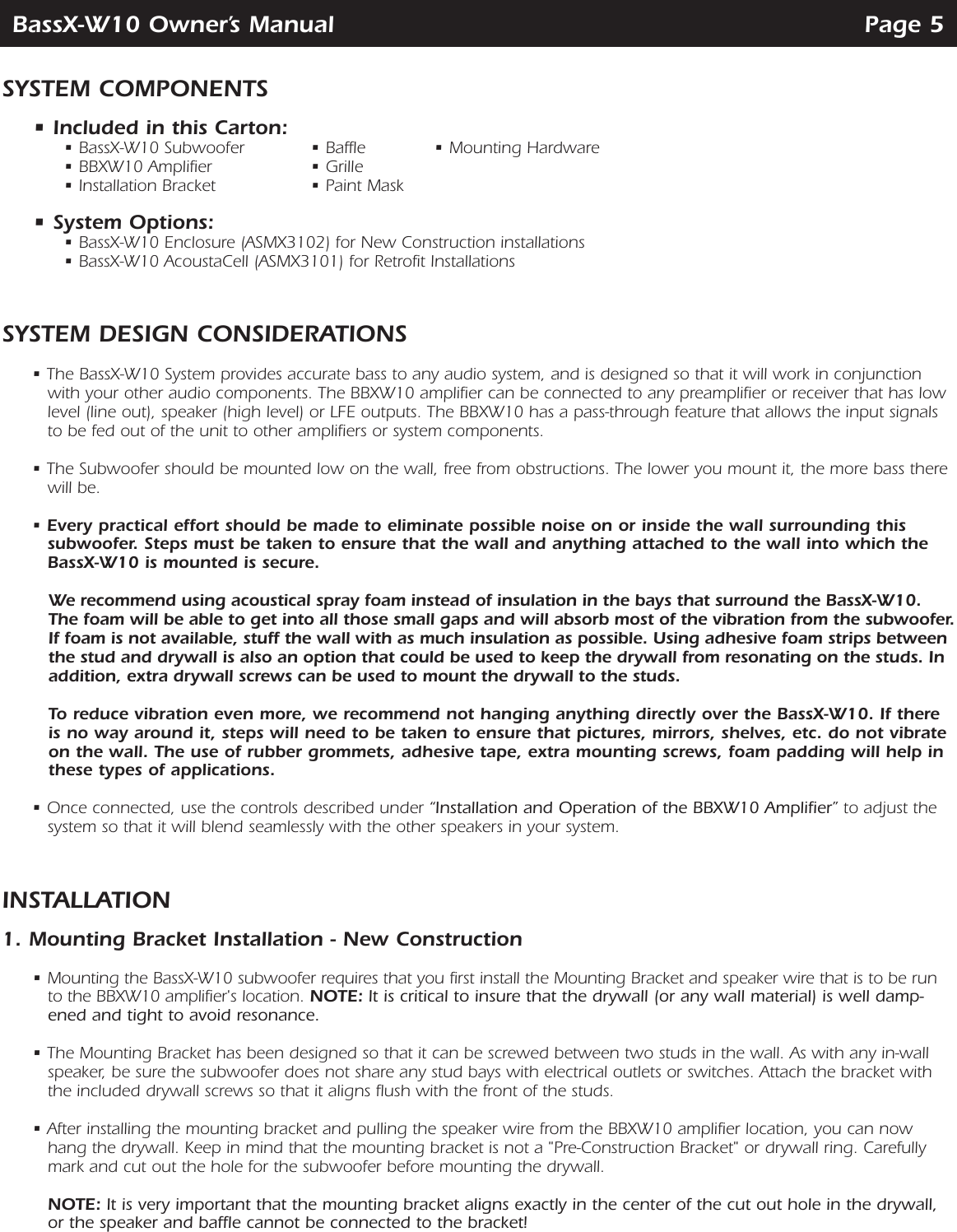 Speakercraft Powered In Wall Subwoofer Bassx W10 Users Manual Wiring Diagram Page 5 Of 12