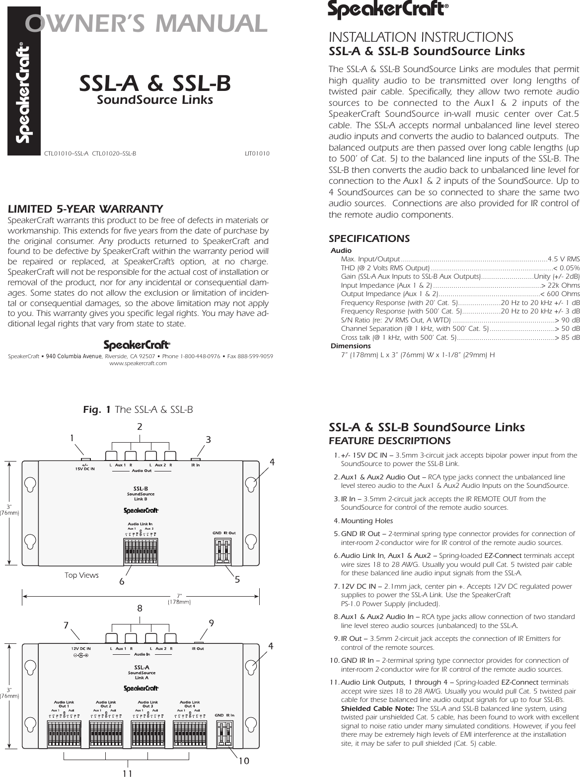 Speakercraft Ssl A Users Manual Ilc 10 Wiring Diagram