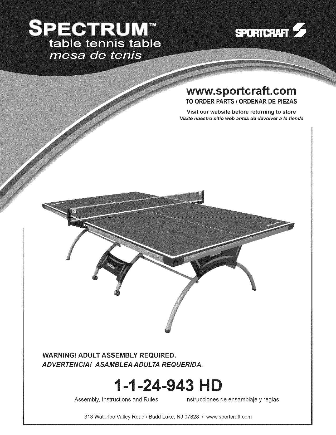Sportcraft 1 24 943hd User Manual Tennis Table Manuals And