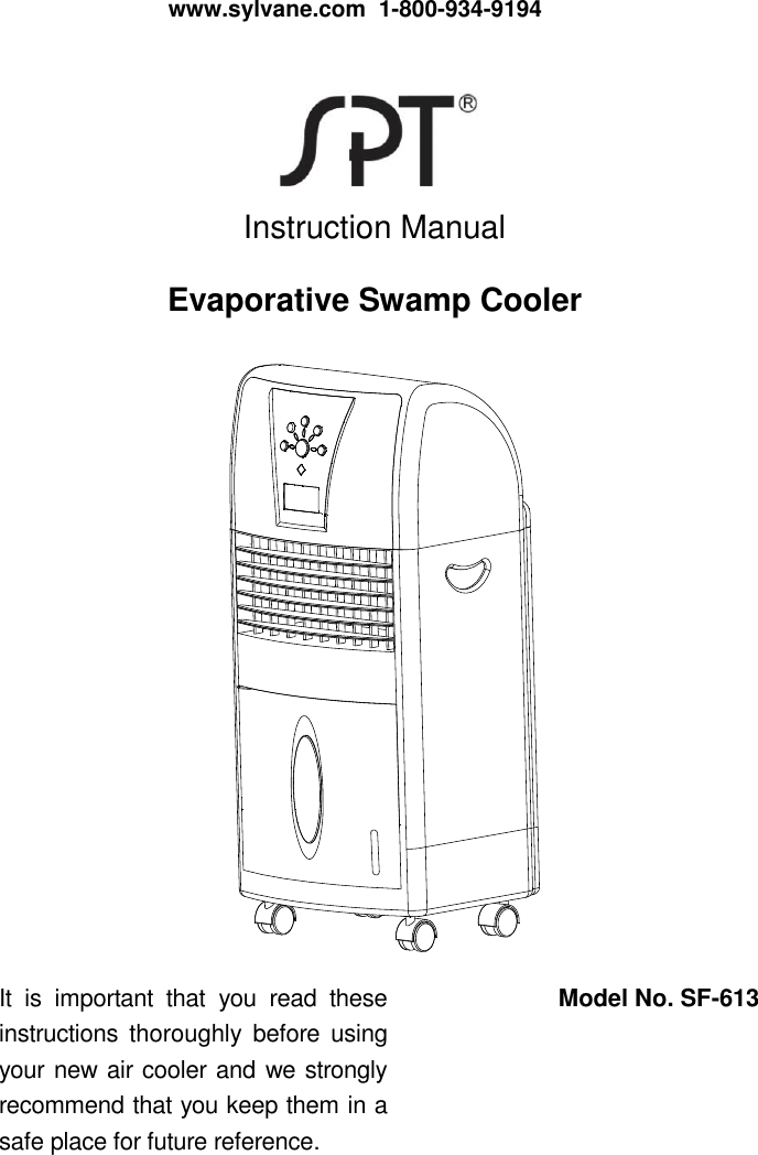 Spt Sf 613 Users Manual Sunpentown Portable Evaporative Air Cooler User |  Sylvane