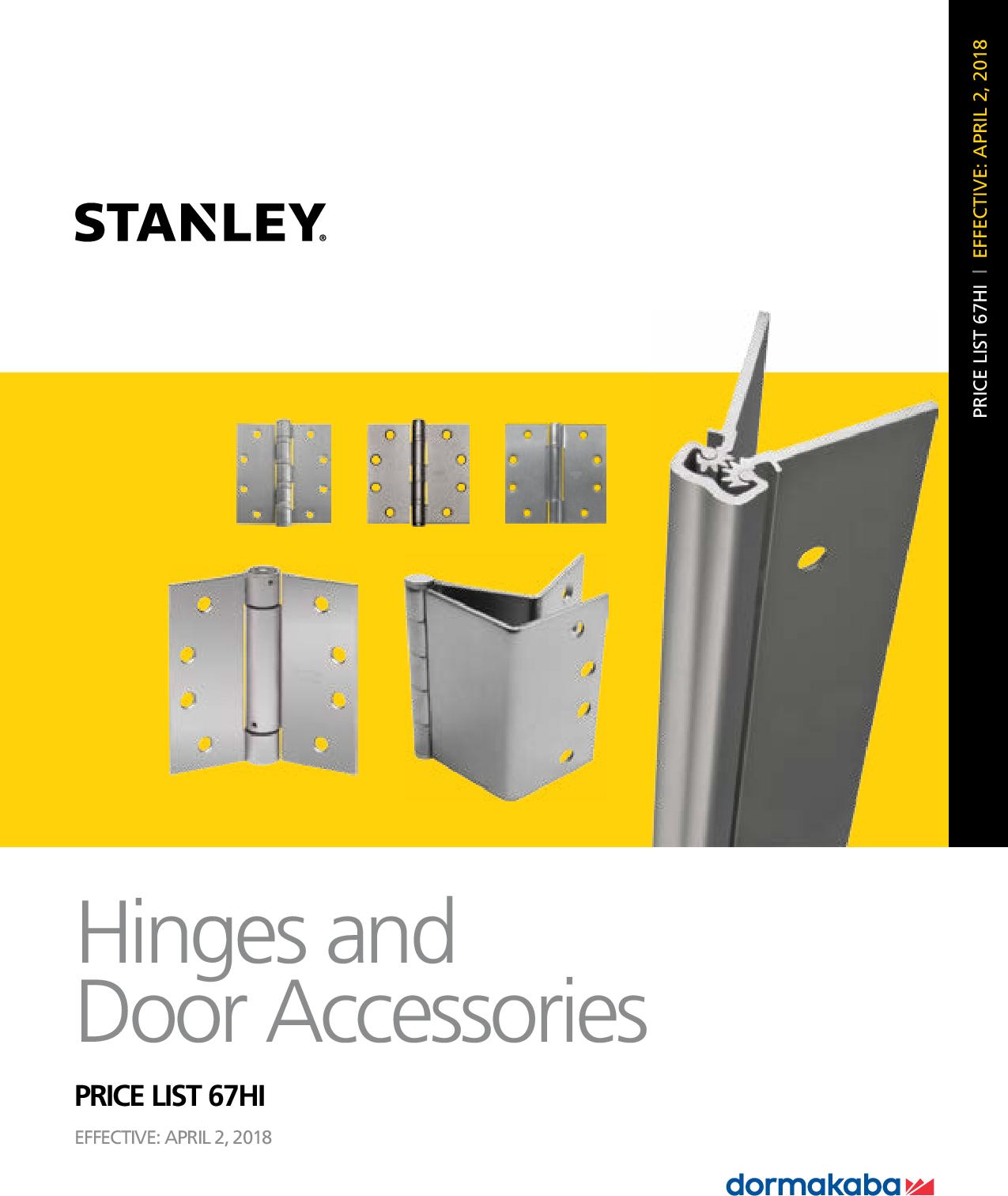 Stanley Security 2018 Hinges Price Book Q2