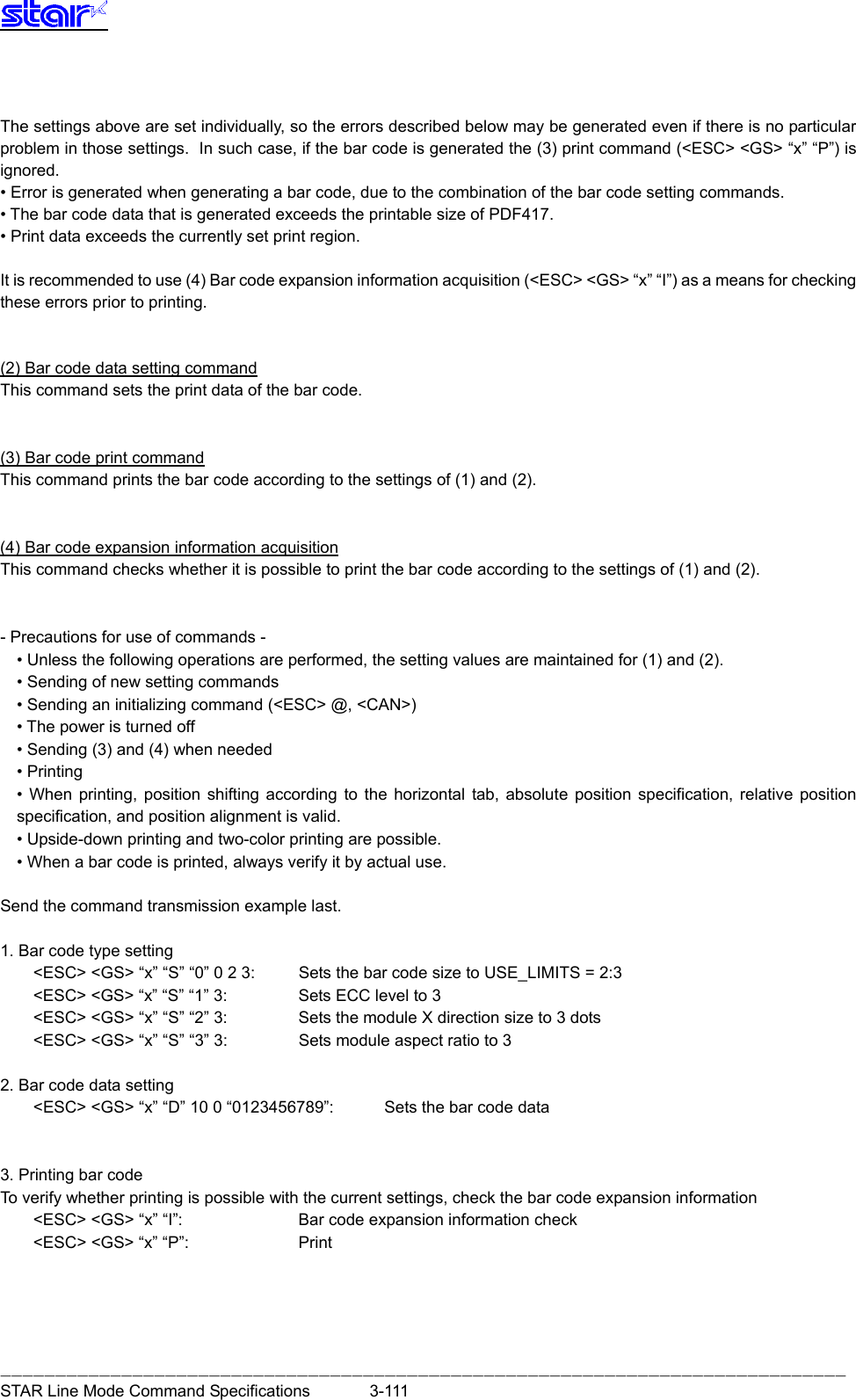 Star Micronics Line Thermal Printer Users Manual Mode Commond