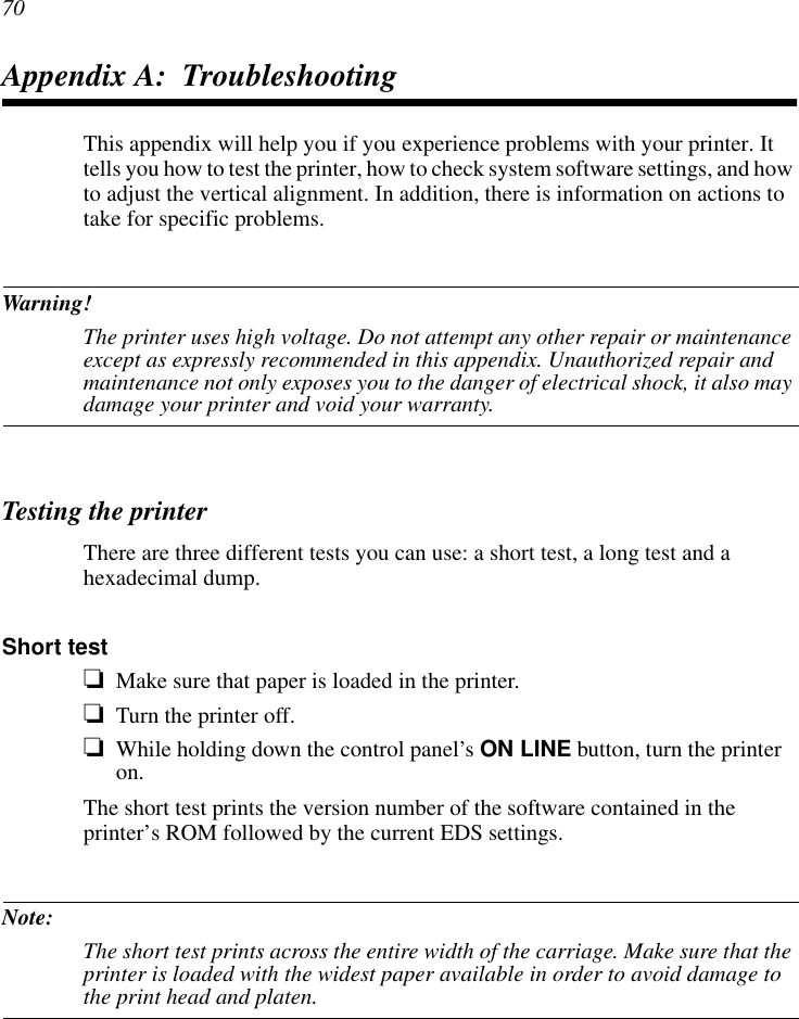 Star Micronics Printer Dot Matrix Printers Users Manual