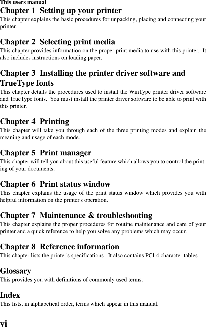 Star Micronics Wintype 4000 Users Manual 4000 Users