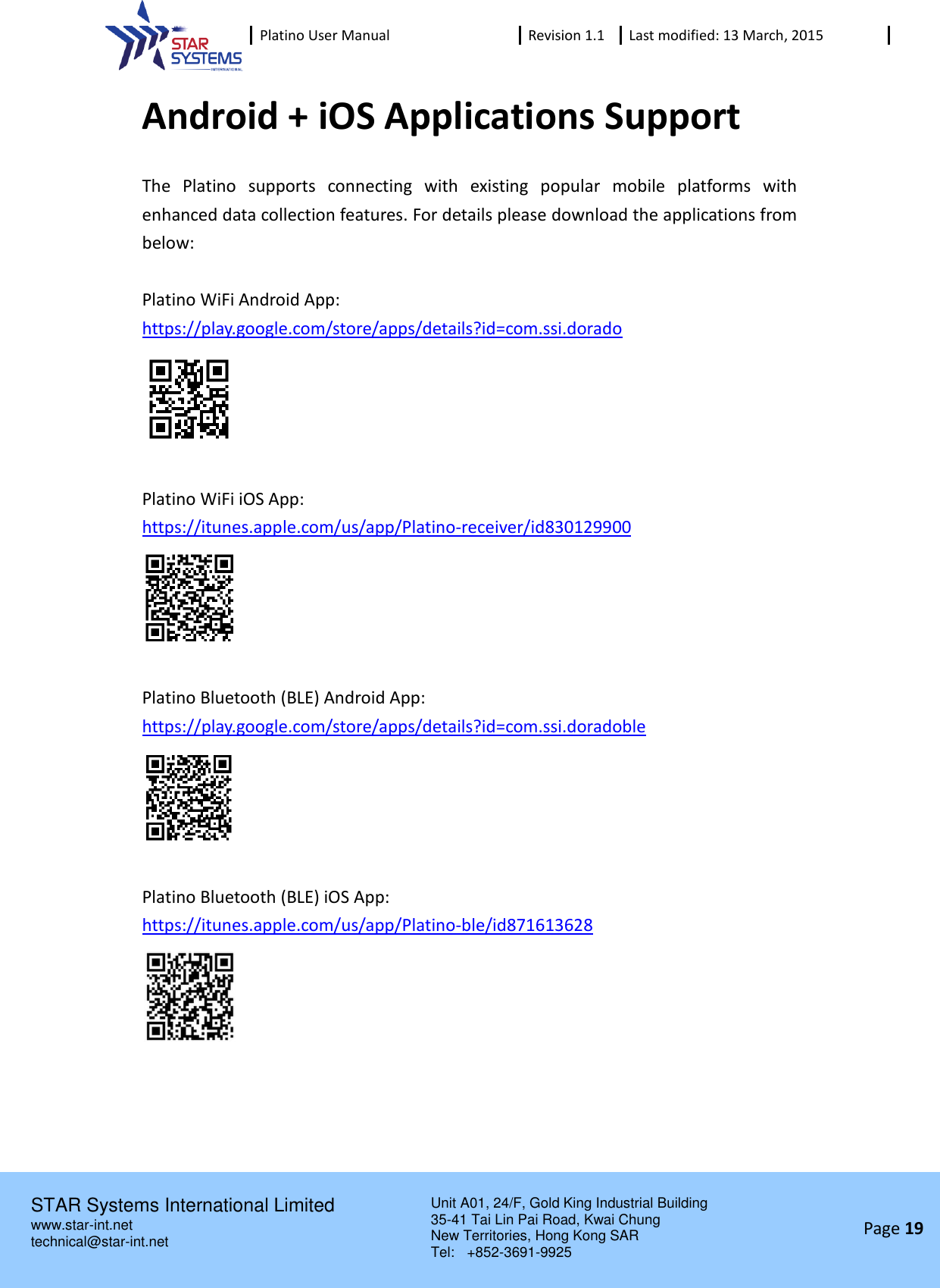 Star Systems PLATINO-WF2014 RFID Handheld Reader User Manual